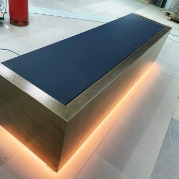 Bespoke reception desk painted in house at St.Ives Cambridgeshire